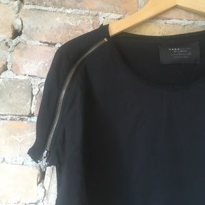 Zara Black Top with Zipper Detail